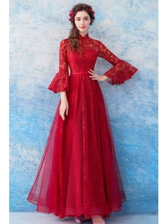 Modest Red Lace Flare Sleeve Formal Dress For Wedding