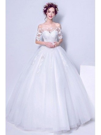 Off The Shoulder White Lace Tulle Bridal Gowns For 2019 Wedding