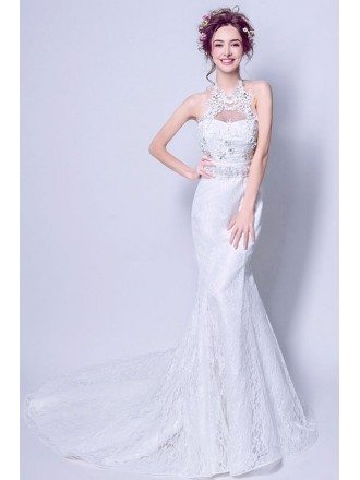 Goddesses Trumpet Lace Fitted Wedding Dress With Beading Halter Neck