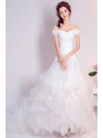 Cascading Ruffle Lace Beading Wedding Dress With Off Shoulder Straps