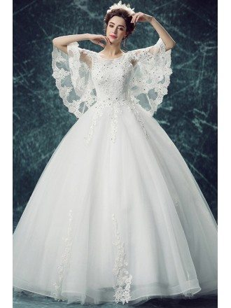 Princess Cape Sleeve Lace Beaded Ball Gown Wedding Dress With Open Back