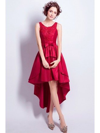 Pretty Red Beaded Lace Party Dress Sleeveless In High Low Style