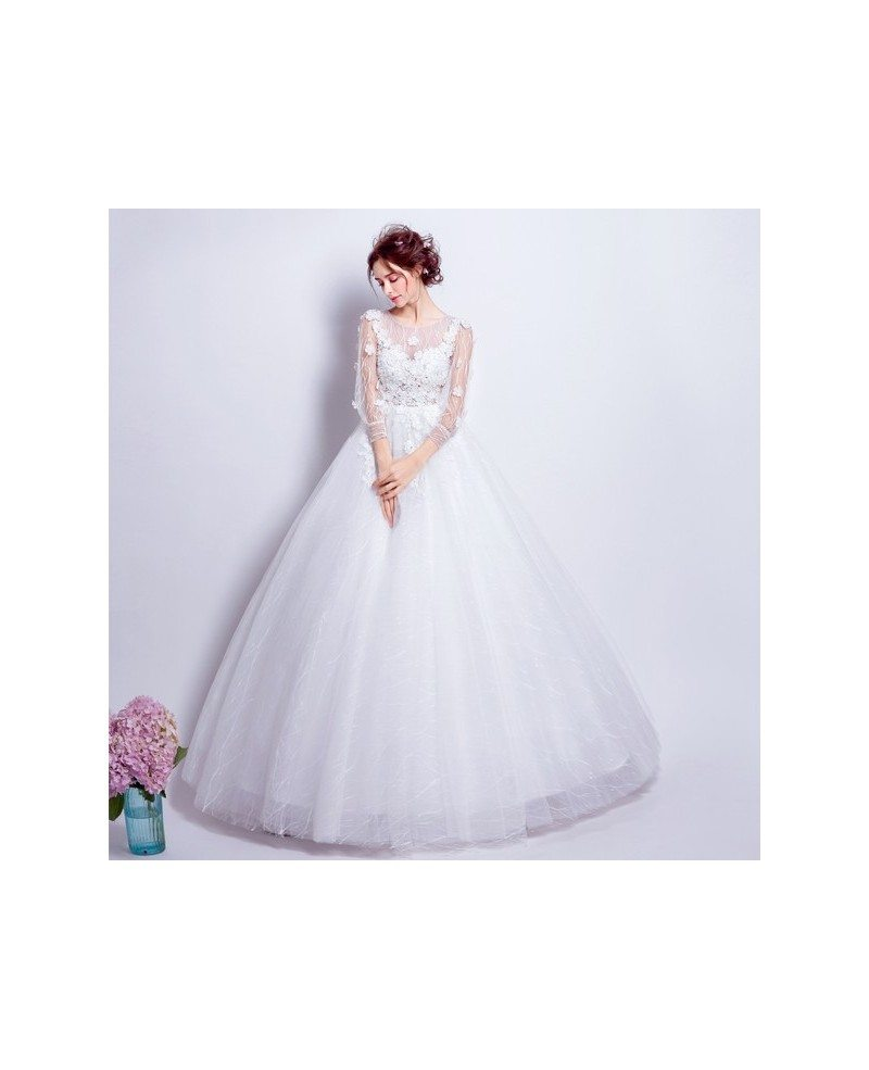 Ballroom Gown Wedding Dresses: Beautiful Tulle Ballroom Bridal Gown With Long Floral