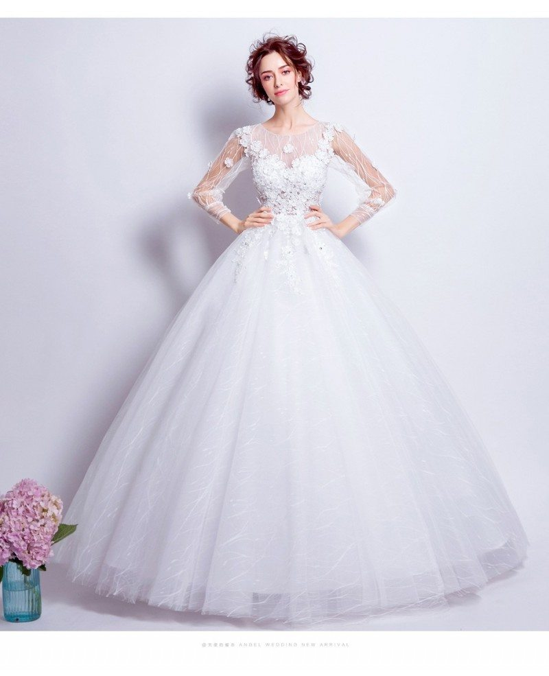 Beautiful Tulle Ballroom Bridal Gown With Long Floral