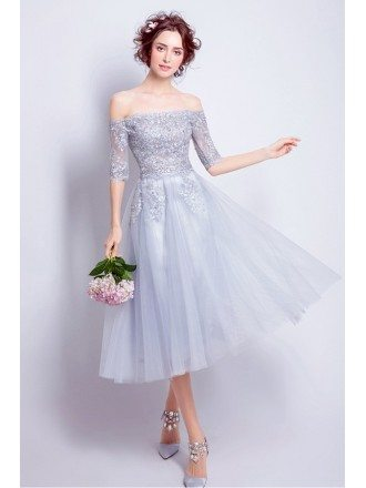 Off Shoulder Sleeves Grey Lace Beaded Party Dress Tea Length