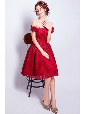 All Lace Red Short Homecoming Dress With Off Shoulder Flower Straps