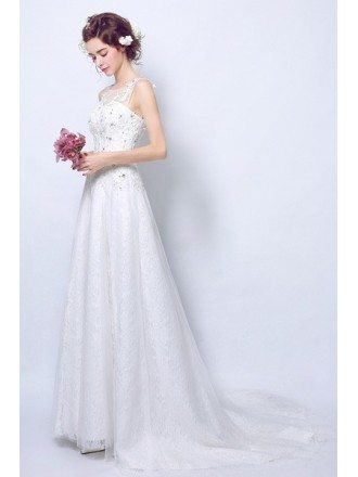 Gorgeous A Line Lace Beaded Bridal Dress Sleeveless With Train