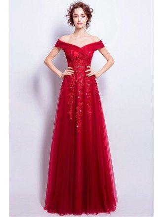 Elegant Burgundy Lace Tulle Party Dress With Off Shoulder Straps