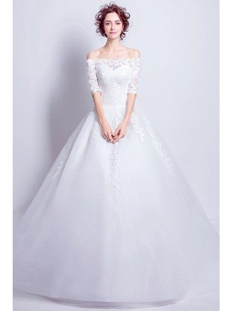 Princess Off Shoulder 1/2 Sleeve Lace Wedding Dress With Ball Gown Train