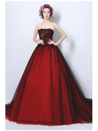 Strapless Black And Red Ball Gown Wedding Party Dress Long Train