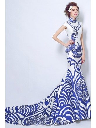 Unique Blue And White Mermaid Formal Dress In Chinese Style