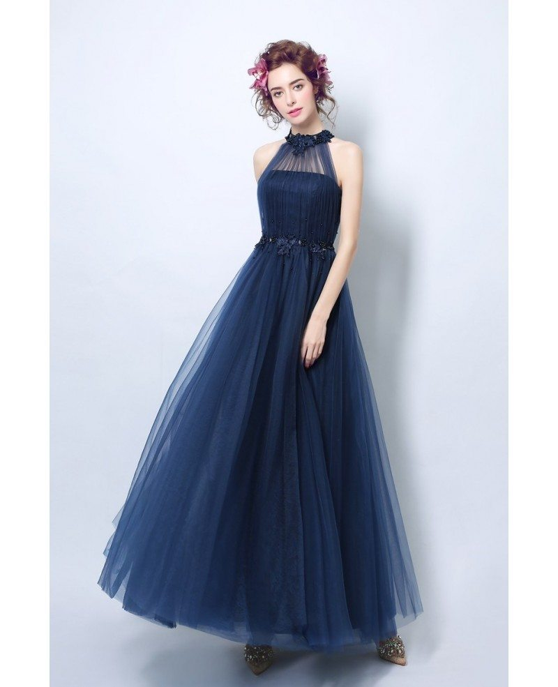 Vintage Dresses Blue Wedding: Vintage Long Halter Navy Blue Prom Dress With Beaded Lace