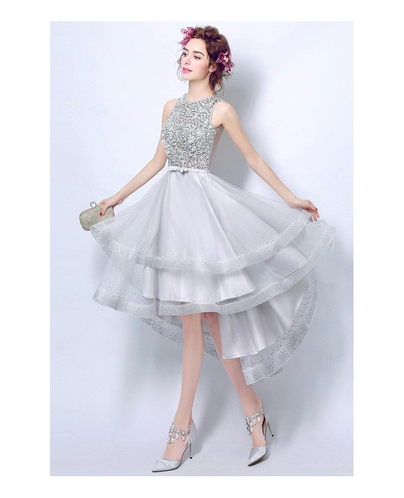 sparkly silver sequined prom dress short in front long in