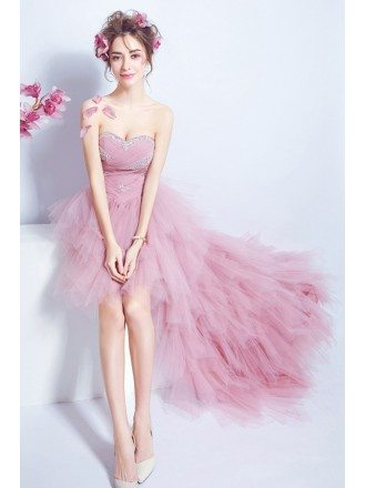 Cascading Ruffle Pink Hi Lo Prom Dress With Pleated Sequined Bodice