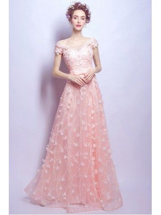 Goddess Pink Long Floral Prom Dress With Cap Lace Beading Sleeves