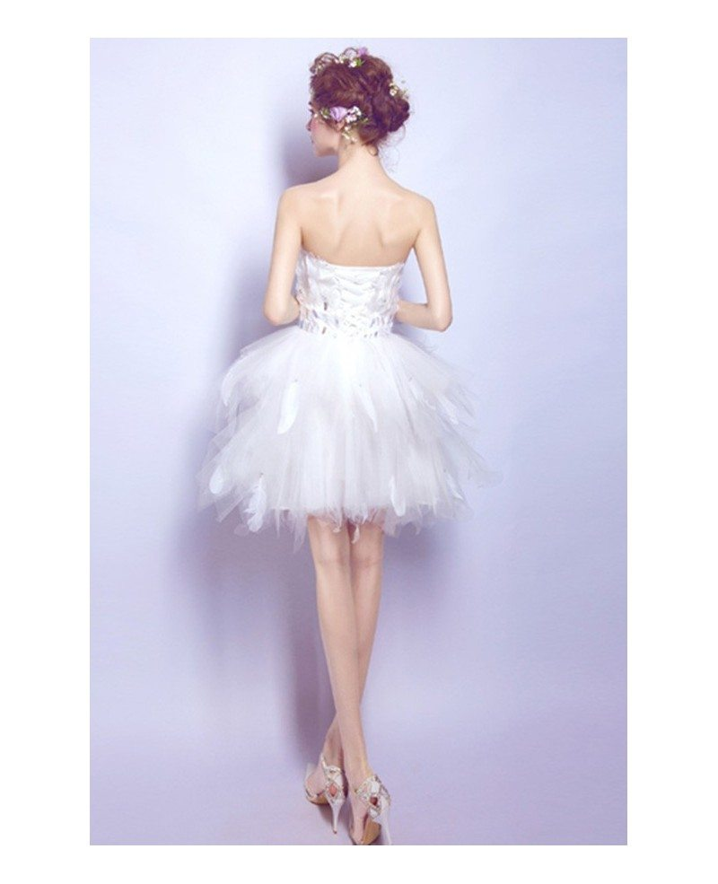 Strapless Feather Short Ruffle Wedding Party Dress For