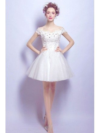 Off Shoulder Strap Short Wedding Reception Dress With Lace Beading