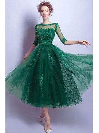 Modest Green Sleeves Tea Length Lace Prom Dress With Sheer Back