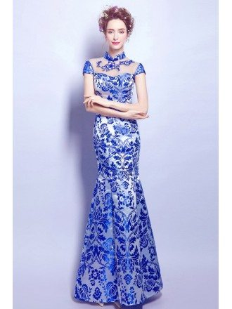 Vintage Blue And White Floral Print Formal Dress In Mermaid Style
