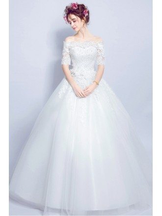 Cheap Off Shoulder Sleeved Ball Gown Wedding Dress With Lace Beading