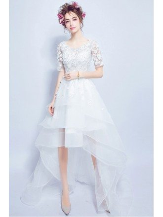 High Low Tier Tulle Lace Wedding Party Dress With 1/2 Sleeves