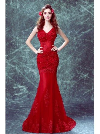 Beautiful Red Mermaid Train Formal Party Dress With Lace Flower