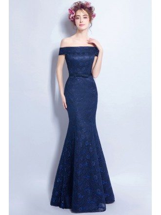 Navy Blue Tight Mermaid Lace Formal Dress With Off Shoulder Straps