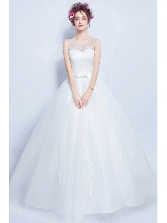 2019 Rustic Sleeveless Ball Gown Wedding Dress With Lace Top