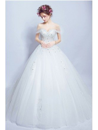 Gorgeous Lace Ballroom Wedding Dress Train With Off Shoulder Strap