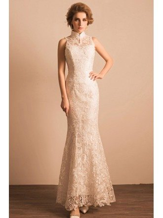 Retro All Lace Fitted Bridal Party Dress Sleeveless Affordable