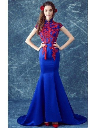 Fit And Flare Royal Blue Retro Formal Dress Train With Red Lace