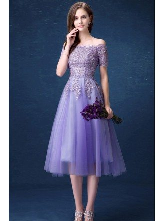 Beautiful Lavender Lace Beading Prom Dress With Off Shoulder Short Sleeves