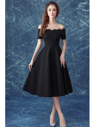 Simple Black Off The Shoulder Sleeves Party Dress In Midi Length