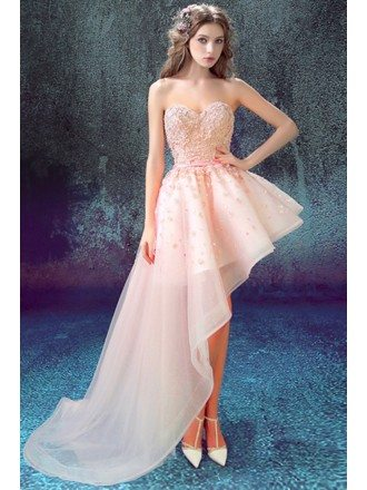 Unique Pink Side High Low Homecoming Dress With Floral Beading Top