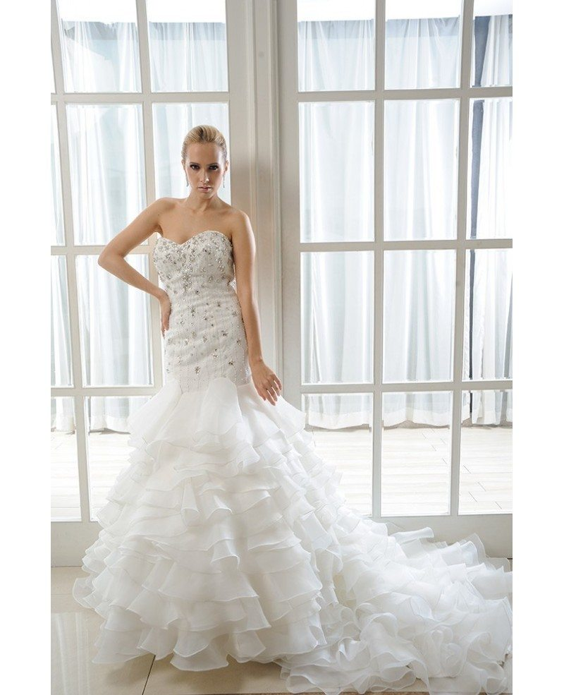 Mermaid sweetheart chapel train organza wedding dress with for Mermaid wedding dress with ruffles