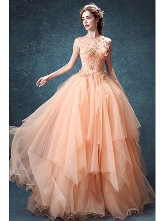 Fairy Orange Ball Gown Pageant Dress With Floral Beading Top