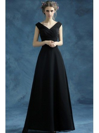 Simple Black Long Chiffon Evening Dress With Pleated V Neck