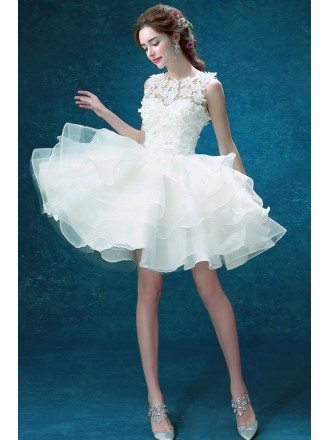 Organza Tiered Short Prom Party Dress With Flower Bodice