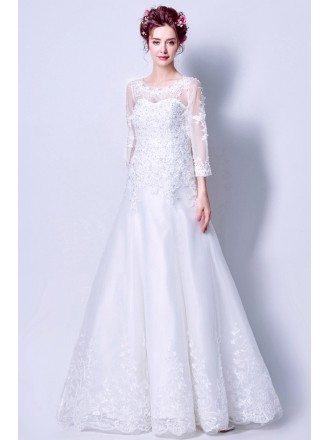 Modest Style A Line Lace Beading Wedding Dress With Sleeves For 2019