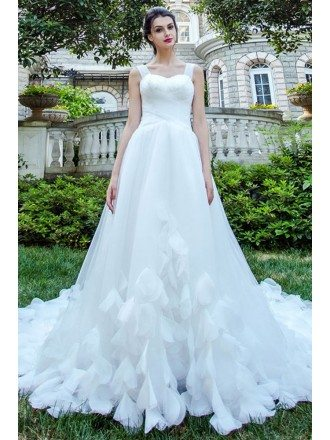 Inexpensive Fairy Petal Tulle Strap Wedding Dress With Long Train