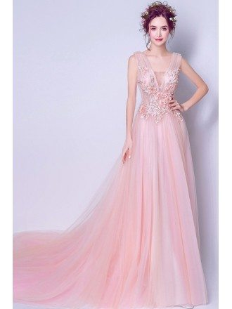 Gorgeous Blush Pink Trained Prom Dress For 2019 With Lace Flowers