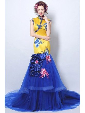 Vintage Fitted Gold Embridery Formal Dress With Blue Mermaid Skirt
