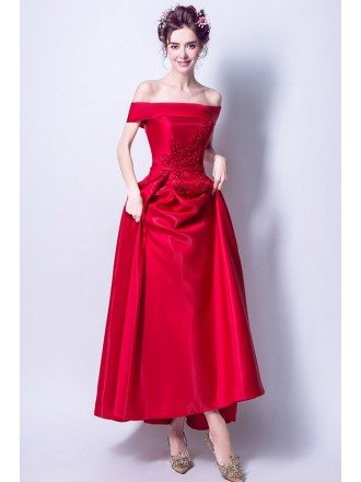 Beautiful Red Lace Beading Prom Dress With Off Shoulder Strap
