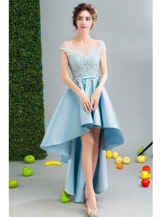 Open Back Hi-lo Blue Satin Homecoming Dress With Lace Bodice