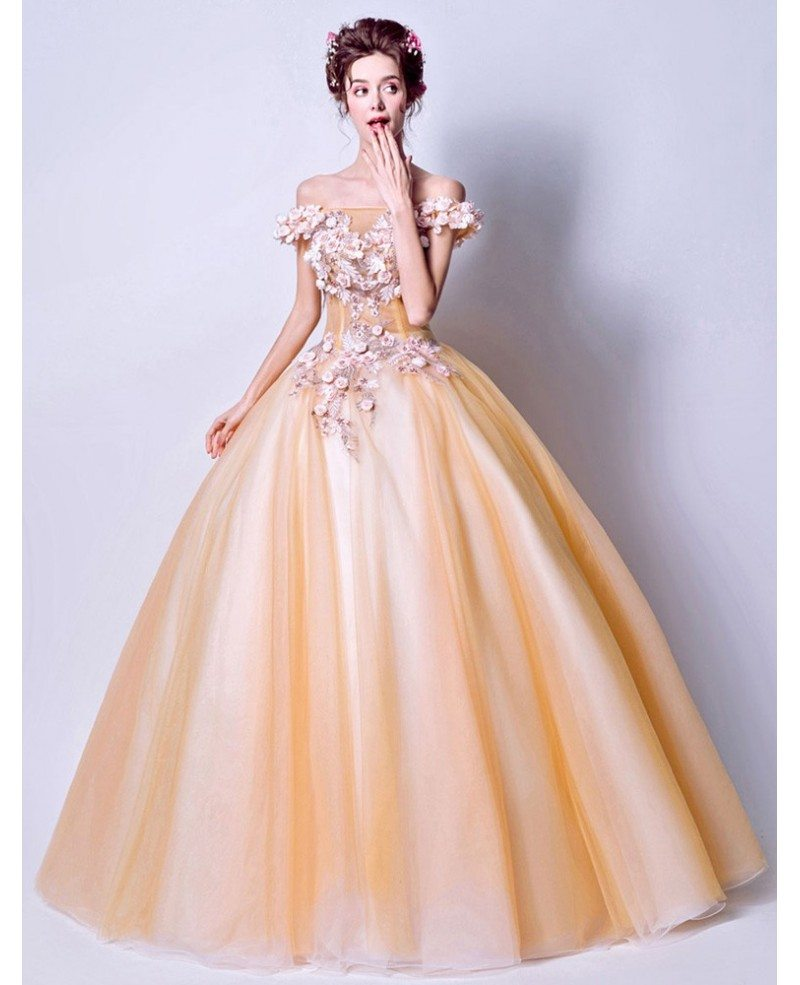 Dreamy Yellow Flower Ballgown Quinceanera Dress 2019 With