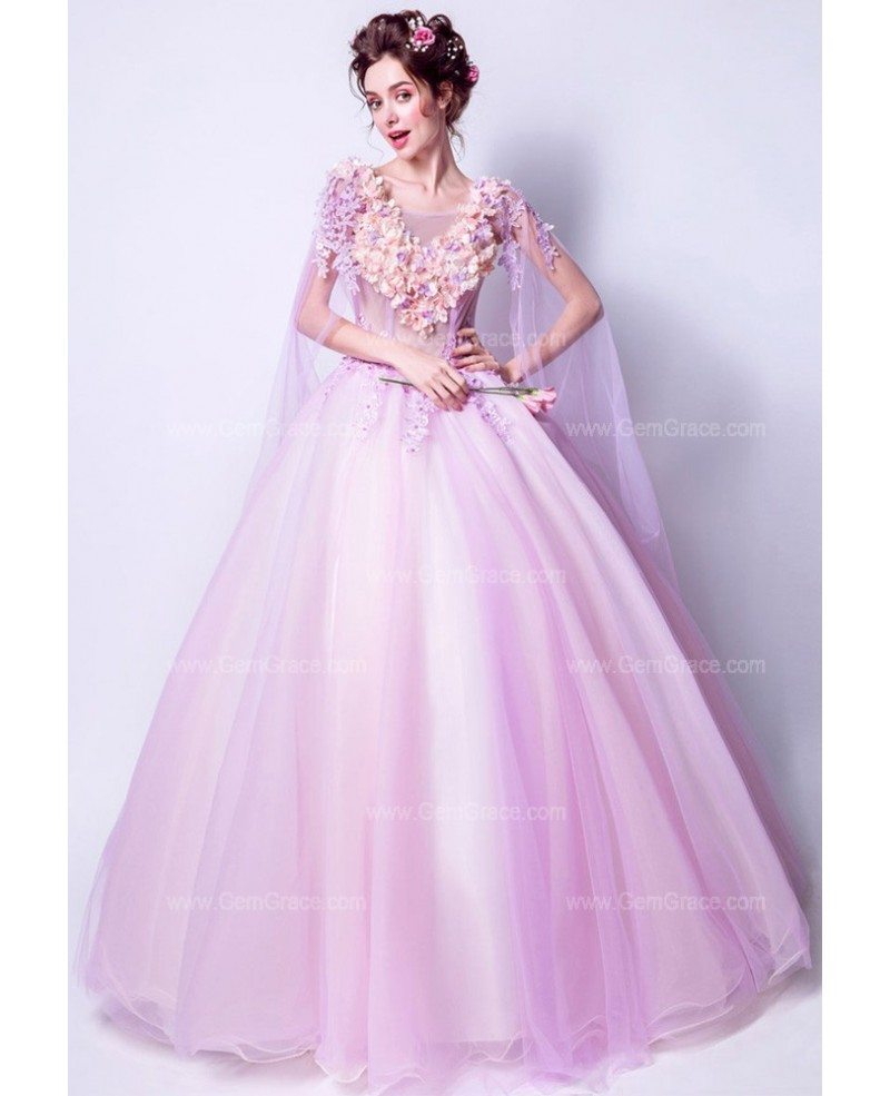 Ultra Romantic Floral Wedding Dresses: Romantic Floral Lilac Ball Gown Prom Dress With Flowing