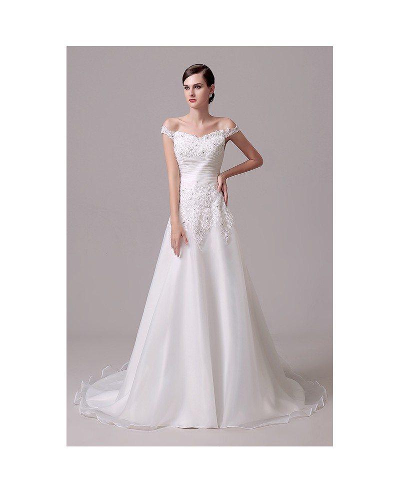 A line off the shoulder court train wedding dress c28301 for Wedding dress for courthouse marriage