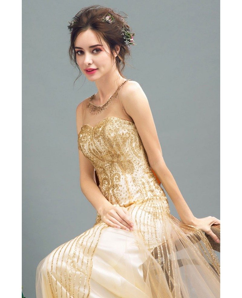 Sparkly Champagne Fitted Long Prom Dress Sleeveless With