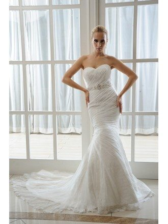 Mermaid Sweetheart Court Train Organza Lace Wedding Dress With Beading Pleated