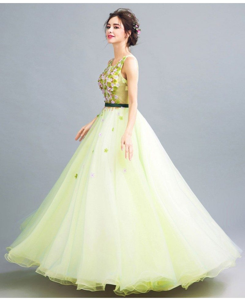 lime green ball gown quinceanera dress with romantic